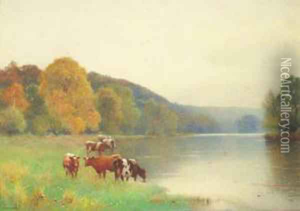 Cattle Watering At The Edge Of A Lake; And Cattle In A Pasturebeside A Thatched Cottage Oil Painting - Benjamin D. Sigmund