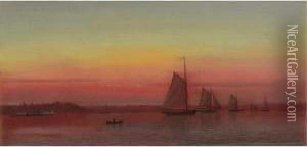 Red Sails At Sunset (sailing At Sunset) Oil Painting - Francis Augustus Silva
