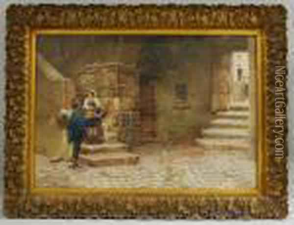 Village Scene With Couple On The Stairs In Subiaco Oil Painting - Scipione Simoni