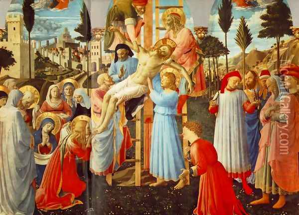 Deposition from the Cross (detail 1) 1437 Oil Painting - Angelico Fra