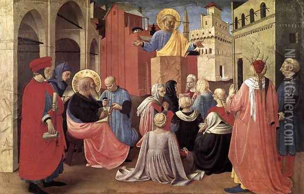 St Peter Preaching in the Presence of St Mark 1433 Oil Painting - Angelico Fra