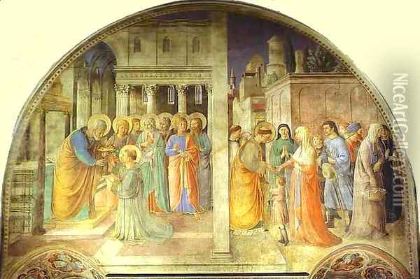 Ordination of St. Stephen by St. Peter Oil Painting - Angelico Fra