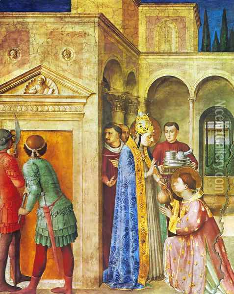 St. Lawrence receives from Sixtus II treasures of the church Oil Painting - Angelico Fra
