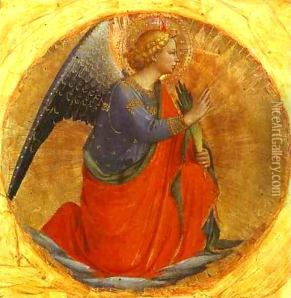 Perugia Triptych; Angel of the Annunciation Oil Painting - Angelico Fra