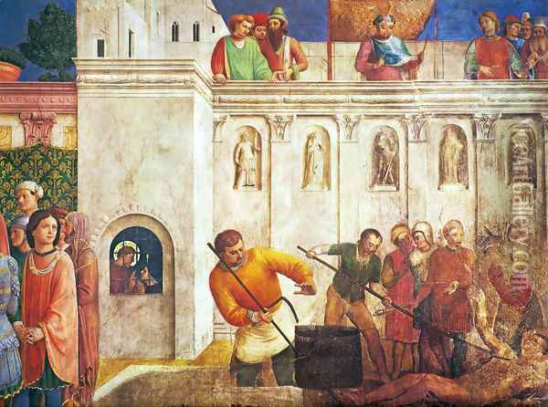 The Martyrdom of St. Lawrence (detail) Oil Painting - Angelico Fra