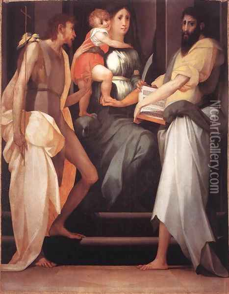 Madonna Enthroned between Two Saints Oil Painting - Rosso Fiorentino (Giovan Battista di Jacopo)