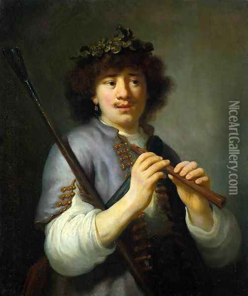 Rembrandt as Shepherd with Staff and Flute c. 1636 Oil Painting - Govert Teunisz. Flinck