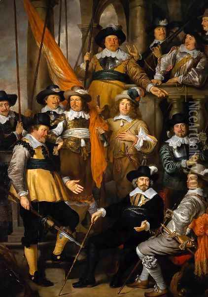 The Company of Captain Albert Bas and Lieutenant Lucas Conijn 1645 Oil Painting - Govert Teunisz. Flinck