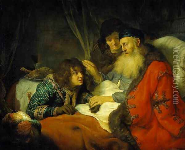 Isaac Blessing Jacob 1639 Oil Painting - Govert Teunisz. Flinck