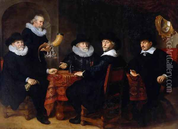 Four Governors of the Arquebusiers Civic Guard, Amsterdam 1642 Oil Painting - Govert Teunisz. Flinck