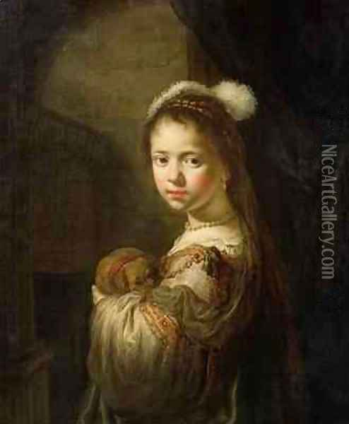 A Little Girl with a Puppy in her Arms Oil Painting - Govert Teunisz. Flinck