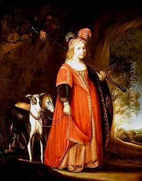 Portrait of a young girl as Diana in a glade with two greyhounds Oil Painting - Govert Teunisz. Flinck