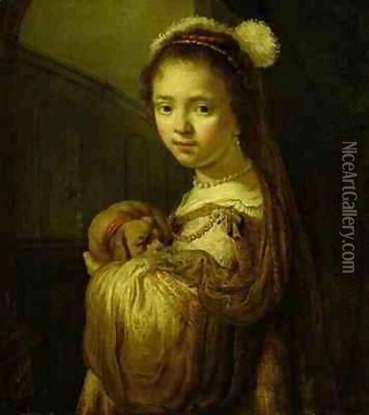 Picture of a Young Girl Oil Painting - Govert Teunisz. Flinck