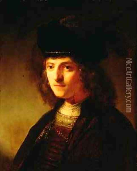 A Young Man in a Feathered Beret Oil Painting - Govert Teunisz. Flinck