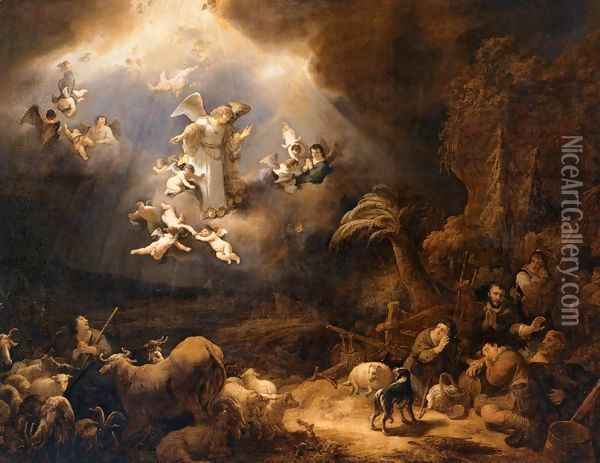 Angels Announcing the Birth of Christ to the Shepherds Oil Painting - Govert Teunisz. Flinck