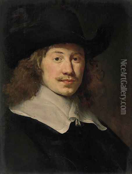 Portrait of a gentleman, bust-length, in black costume with a lace collar Oil Painting - Govert Teunisz. Flinck