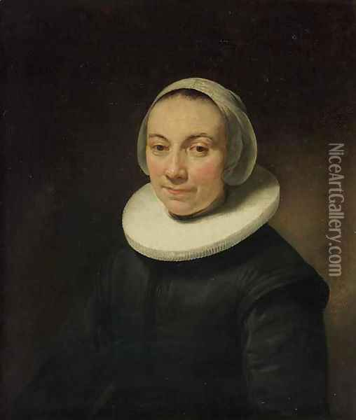 Portrait of a lady, bust-length, in a black dress with a ruff, and a white head-dress Oil Painting - Govert Teunisz. Flinck