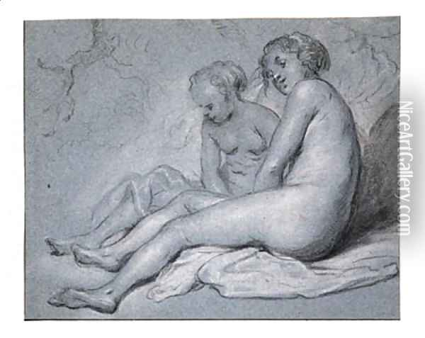 Study of two female seated Nudes Oil Painting - Govert Teunisz. Flinck