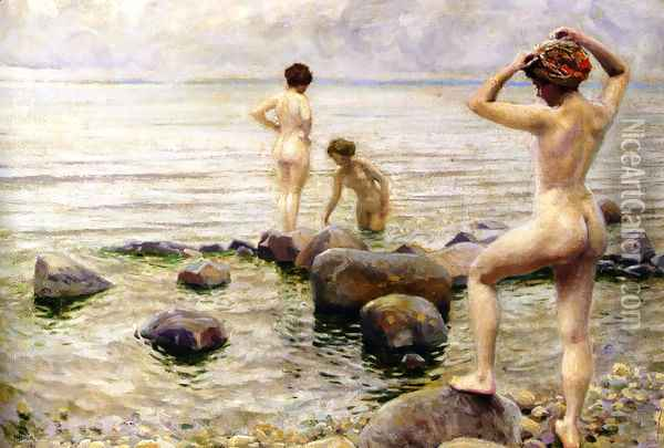 A Morning Dip Oil Painting - Paul-Gustave Fischer