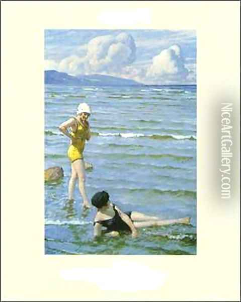 Girls Bathing Oil Painting - Paul-Gustave Fischer