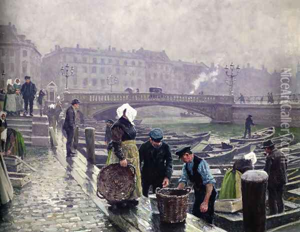 Ved Gammel Strand (Gammel Strand) Oil Painting - Paul-Gustave Fischer