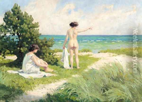 Bathers Resting on Sand Dunes (Solbadende i klitterne) Oil Painting - Paul-Gustave Fischer