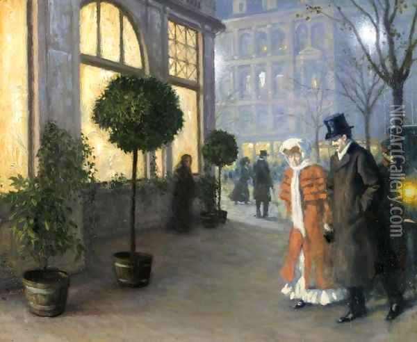 After the Theatre (Efter Teatret) Oil Painting - Paul-Gustave Fischer