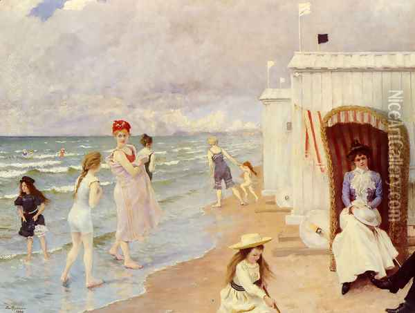 The Day at the Beach Oil Painting - Paul-Gustave Fischer