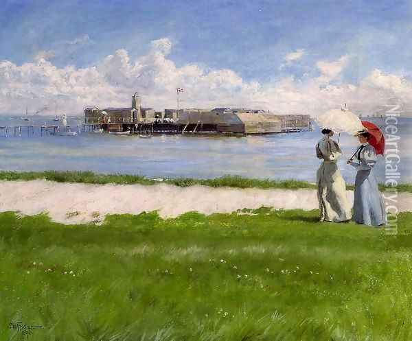 The Conversation, Helgoland Oil Painting - Paul-Gustave Fischer
