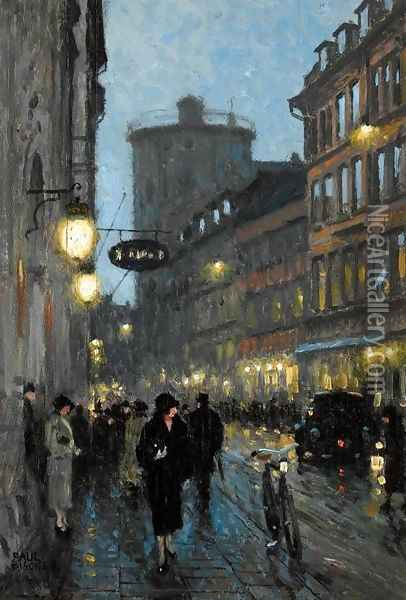 Street at Evening (Aftenstemning) Oil Painting - Paul-Gustave Fischer