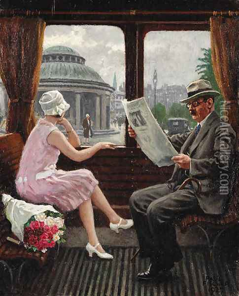 In the train compartment Oil Painting - Paul-Gustave Fischer