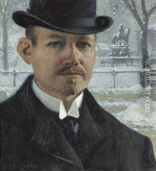 Self-portrait, Nytorv in Winter Oil Painting - Paul-Gustave Fischer