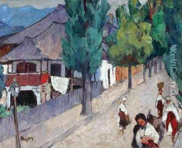 Street From Curtea De Arges Oil Painting - Ion Theodorescu Sion