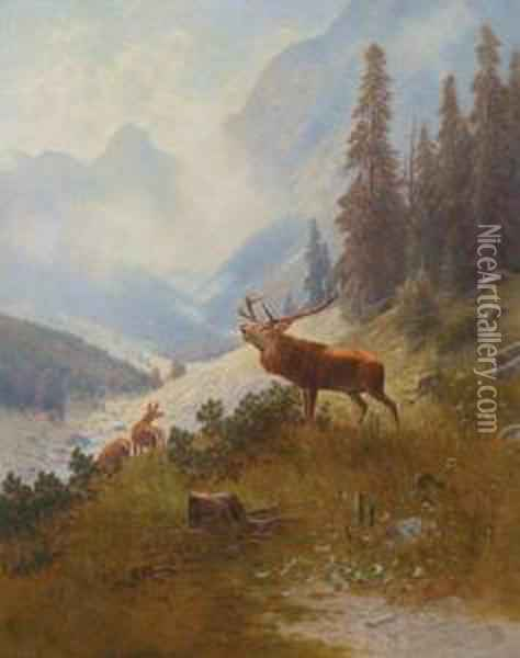 Bellowing Stag In The Mountains Oil Painting - Ludwig Skell