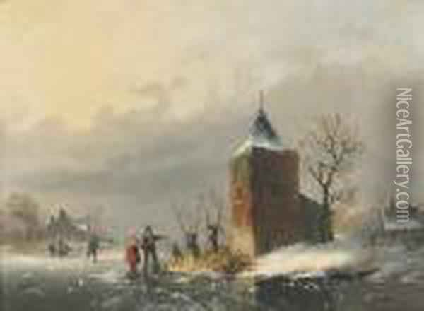 A Couple Talking On A Frozen Canal Oil Painting - Louis Smets