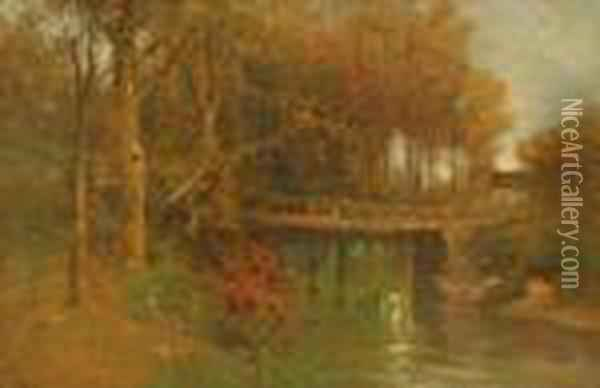 On The Bronx River Oil Painting - George Henry Smillie