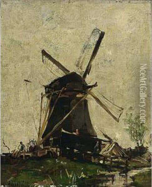 A Polderlandscape With A Windmill Oil Painting - Hobbe Smith