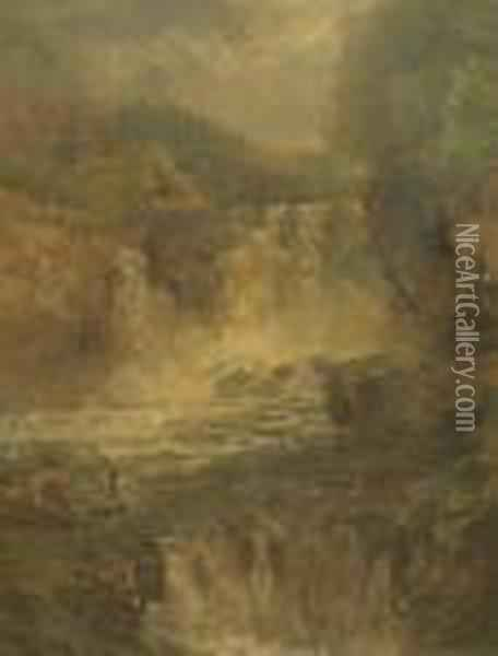 Figures By A Waterfall Oil Painting - John Brandon Smith