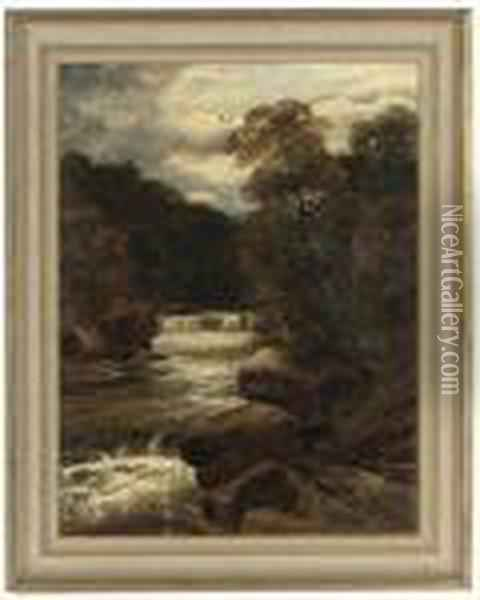 A Waterfall In Spate; And A River In A Wooded Landscape Oil Painting - John Brandon Smith