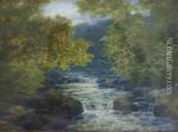 A Wooded River View Oil Painting - John Brandon Smith