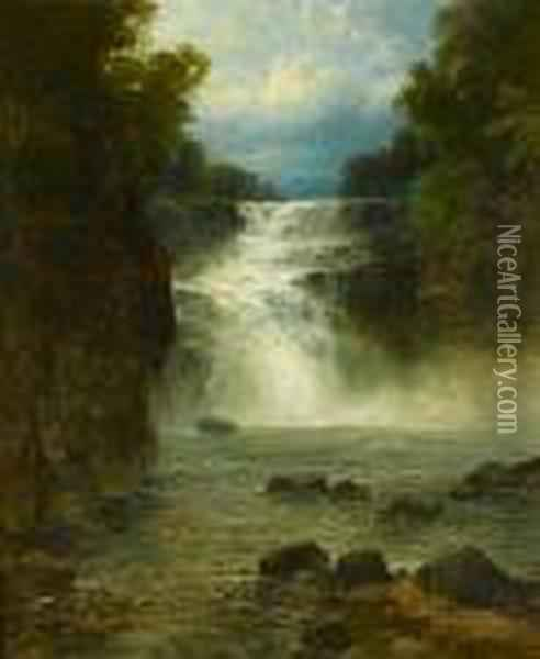 River Scene With Waterfall Oil Painting - John Brandon Smith