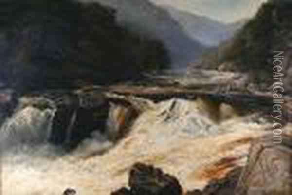 A Highland Stream, In Spate Oil Painting - John Brandon Smith