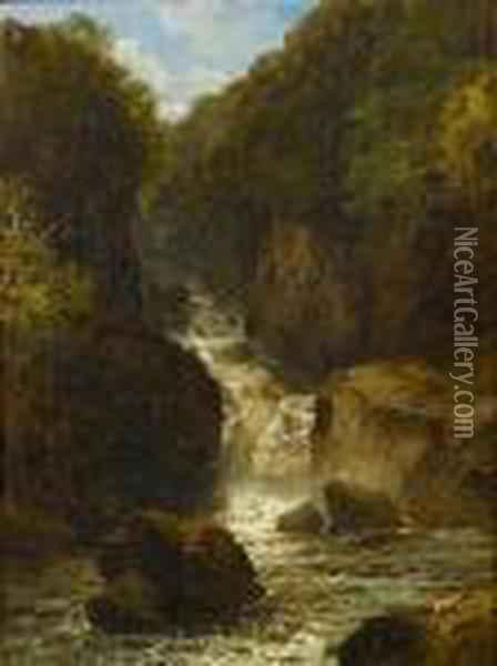 A Waterfall Oil Painting - John Brandon Smith
