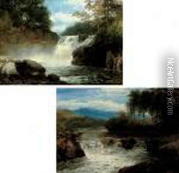 A Wooded River Landscape With Waterfall; And Another Similar Oil Painting - John Brandon Smith
