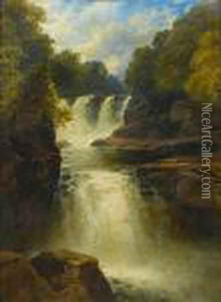 Shallow Falls, North Wales Oil Painting - John Brandon Smith