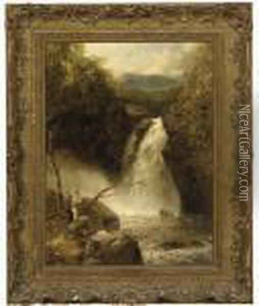 Figures Overlooking A Waterfall Oil Painting - John Brandon Smith