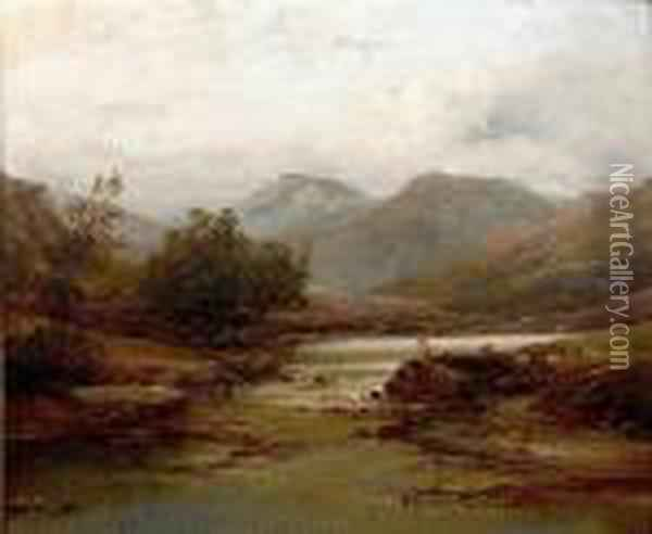 River Landscape With Shepherd And Sheep Oil Painting - John Brandon Smith