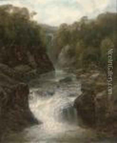 A Waterfall In A Narrow Valley Oil Painting - John Brandon Smith