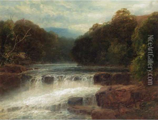 On The River Llugwy, North Wales Oil Painting - John Brandon Smith