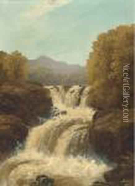 A Waterfall In Full Spate; And A Tranquil Pool Oil Painting - John Brandon Smith